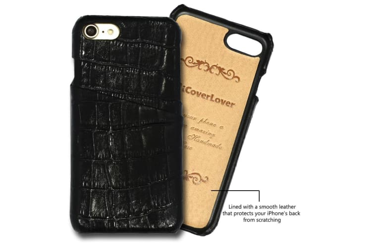 For iPhone 8 7 Case iCoverLover Crocodile Shell Genuine Cow Leather Cover Black
