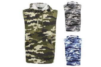 Men's Sleeveless Hoodie Top T Shirt Camouflage Military Gym Muscle Vest Singlet - Blue Camo | Green Camo | Grey Camo