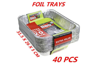 40 x Aluminum Foil Trays BBQ Disposable Roasting Takeaway Oven Baking Party Container