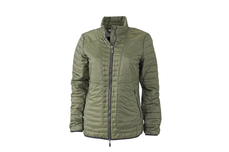 James and Nicholson Womens/Ladies Lightweight Jacket (Olive Green/Silver) (L)