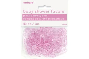 Unique Party Plastic Baby Shower Favor Safety Pins (Pack Of 40) (Pink) (One Size)