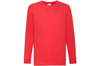 Fruit Of The Loom Childrens/Kids Long Sleeve T-Shirt (Red) (14-15)