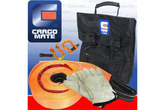 CARGO MATE 4X4 RECOVERY SHACKLES 6500 KG SNATCH STRAP RESCUE OFF ROAD 4WD KIT1