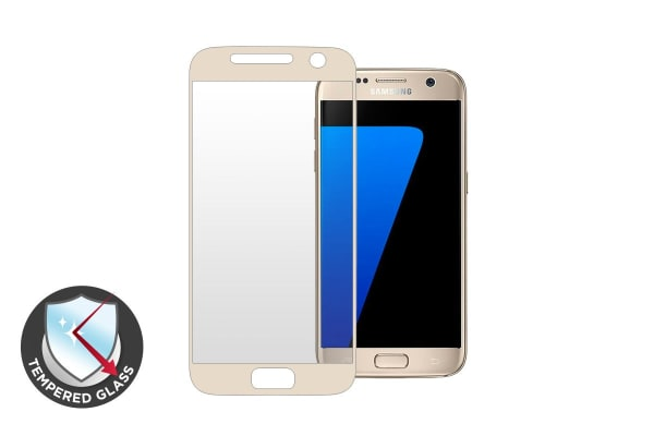 Premium Tempered Glass Screen Protector for Samsung Galaxy S7 (Gold)