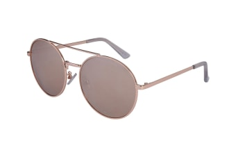 Aspect Fashion Round Aviator Sunglasses - Gold/Silver Mirror