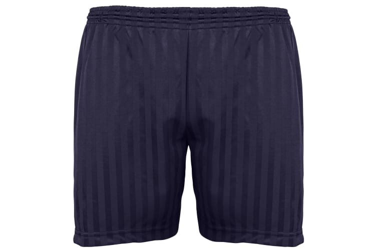 Maddins Kids Unisex Shadow Stripe Sports Shorts (Navy) (38-40)