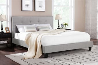 Ovela Bed Frame - Positano Collection (Grey, Queen)