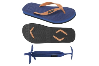 Men's Navy/Black Thongs with 1x Pair of Interchangeable Orange Straps