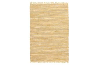 Bondi Leather and Jute Rug Yellow 270x180cm