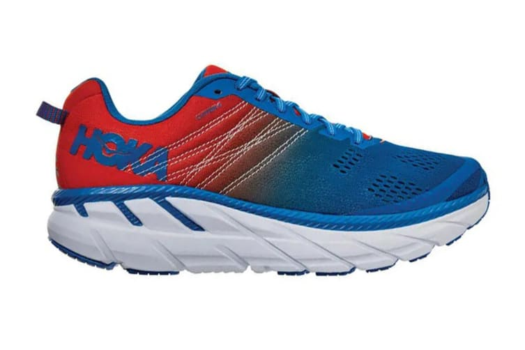 Hoka One One Men's Clifton 6 Running Shoe (Mandarin Red/Imperial Blue, Size 10.5)