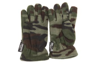 Childrens Boys Camouflage Thinsulate Thermal Winter Gloves (3M 40g) (Green Camouflage)