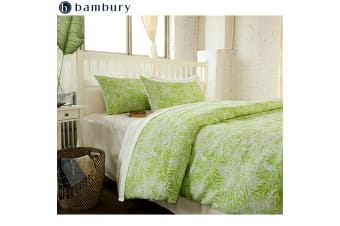 Linen Cotton Quilt Cover Set Delphine Pine Lime by Bambury