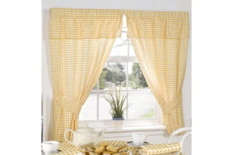 Molly Gingham Chequer Pattern Ready Made Curtains With Valance Top (Lemon) (46 x 54 (117cm x 137cm))