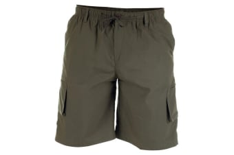 Duke Mens Nick-D555 Shaped Leg Cargo Shorts (Khaki) (5XL)