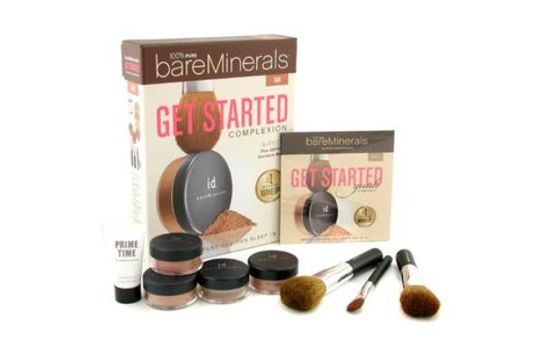Bare Escentuals BareMinerals Get Started Complexion Kit - Tan: (2xFdn Spf15+Mineral Veil+Face Color+3xBrush+DVD+Prime Time) (-)