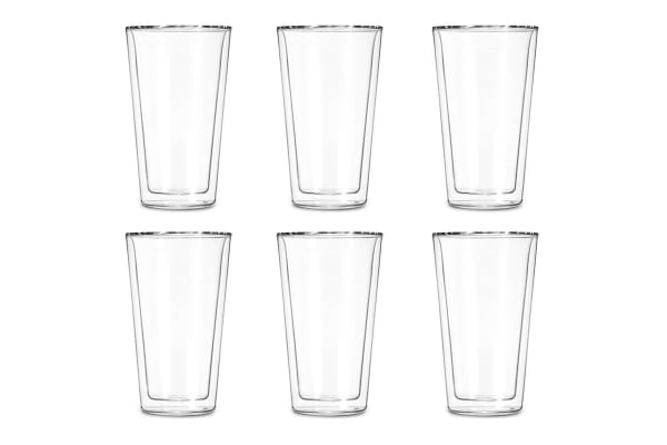 Ovela Set of 6 Double Wall Drinking Glasses - Trapezoid (400ml)