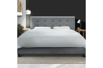 Artiss Queen Size Bed Frame Base Mattress Platform Grey Fabric Wooden SOHO