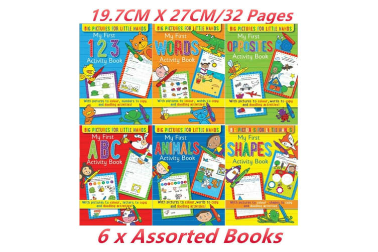 6 x Kids Activity Book Colouring Draw Writing Doodle Educational Learning Words
