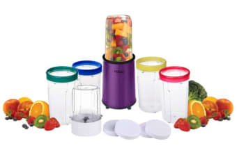 Todo 17 Pcs. Stainless Steel Personal Rocket Blender 240W 5 Drink Cups Purple