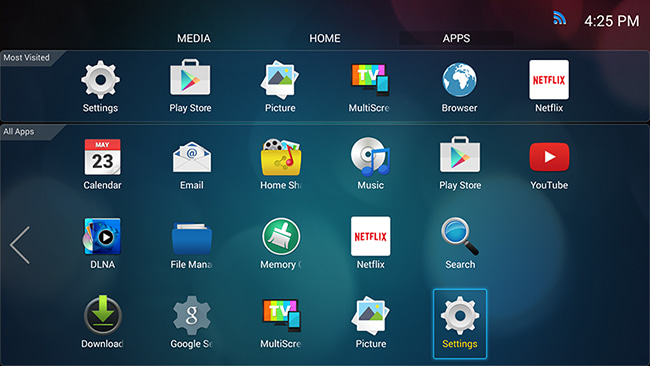 Connecting to Wireless Internet - Smart TVs running Android 4 4