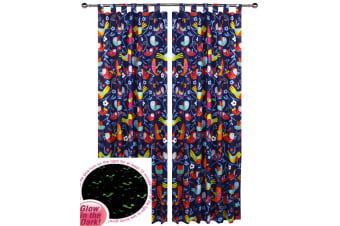 Pair of Glow in the Dark Bright Birds Tab Top Children Kids Curtains by Happy Kids