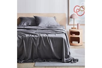 Canningvale 1000TC Sheet Set - King Single Bed - Palazzo Linea  French Grey with Crisp White Stripe