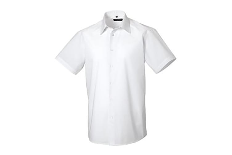 Russell Collection Mens Short Sleeve Poly-Cotton Easy Care Tailored Poplin Shirt (White) (XL)