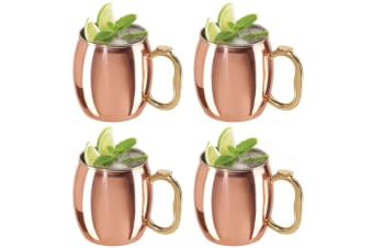 4x Oggi 600ml Moscow Mule Cocktail Stainless Steel Drink Barware Mug Cup Copper