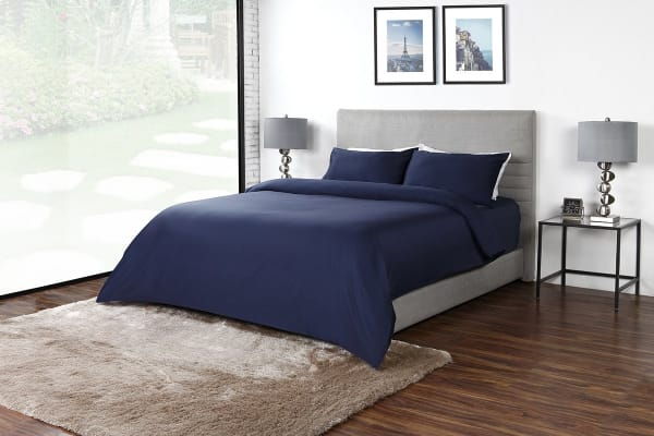 Ovela 600TC 70% Bamboo / 30% Cotton blend Quilt Cover Set (Queen, Indigo)