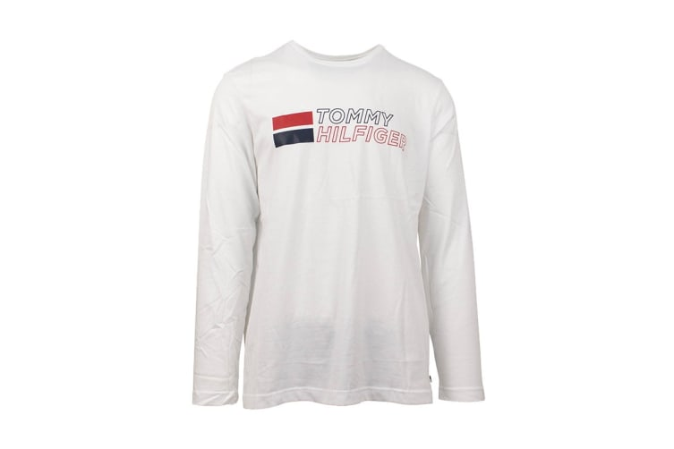 Tommy Hilfiger Men's Long Sleeve Graphic Tee (White, Size XL)