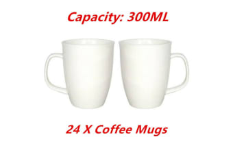 24 x 300ML Ceramic Classic Plain White Coffee Mug Drinking Party Tea Cups Tumbler