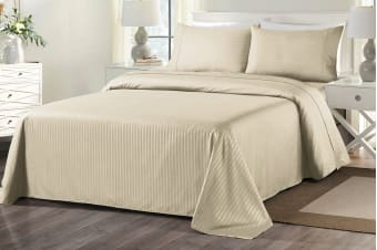 Royal Comfort 1000TC Blended Bamboo Bed Sheet Set with Stripes (Queen, Sand)