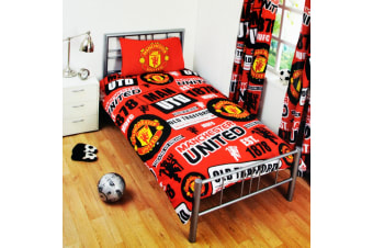 Manchester United FC Childrens/Kids Official Patch Football Crest Duvet Set (Red)