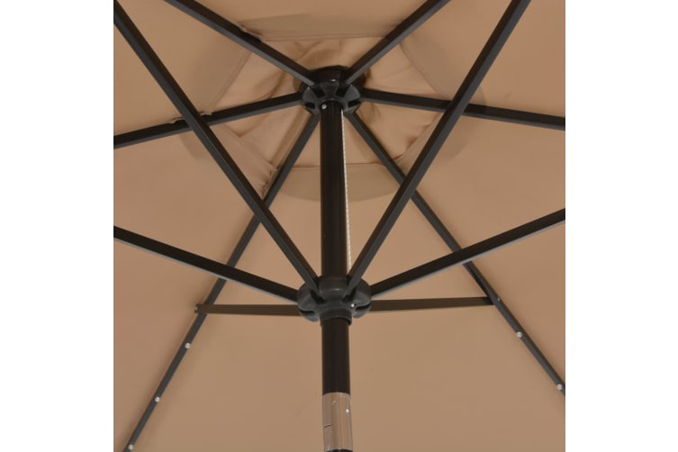 vidaXL Outdoor Parasol with LED Lights and Steel Pole 300 cm Taupe