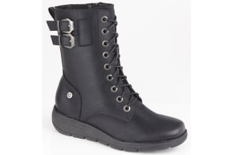 Cipriata Womens/Ladies Nadia 9 Eye Laced PU Leather Ankle Boot (Black) (3 UK)
