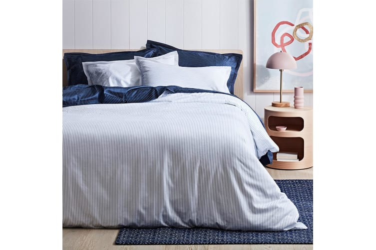 Canningvale 1000TC Quilt Cover Set - King Bed - Palazzo Linea  Crisp White with Eclipse Blue Stripe