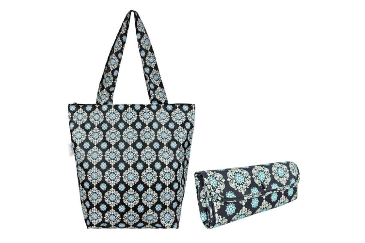 2x Sachi Insulated Thermal Cooler Shopping Bag Storage Market Tote Medallion BLK