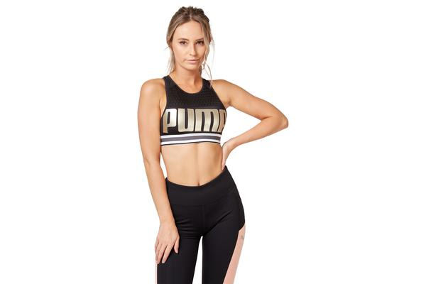 Puma Women's Mid Impact Women's Bra Top (Black Metallic Gold, Size XL)