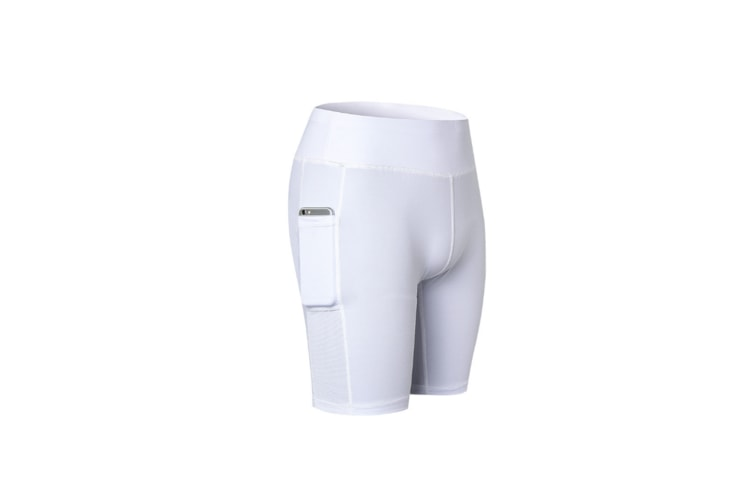 Women'S Stretch Running Workout Shorts With Pocket - White White Xxl