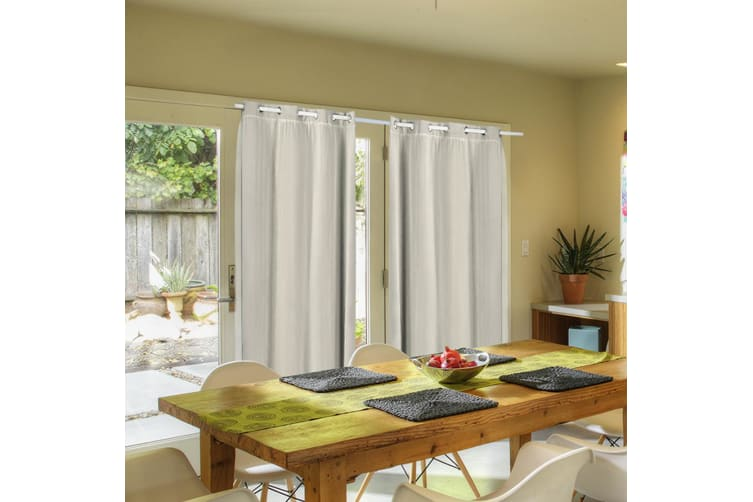 2X Blockout Curtains Panels Blackout 3 Layers Room Darkening Pure With Gauze NEW  -  Sand300X230cm (WxH)