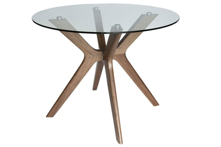 Doreen Collection | Glass Round Dining Table | Walnut | 100cm