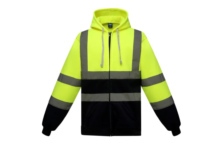 Yoko Mens Hi Visibility Full Zip Reflective Work Hoodie (Yellow/ Navy) (L)