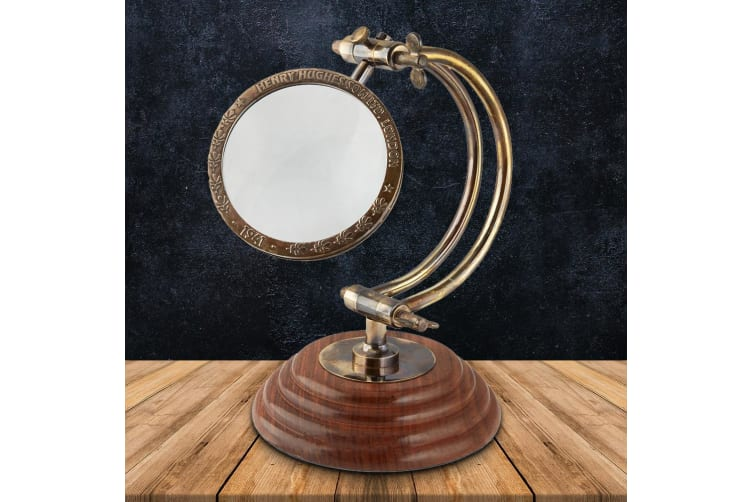 Vintage Replica Tabletop Magnifying Glass With Curved Arm