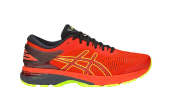 ASICS Men's Gel-Kayano 25 Running Shoe (Cherry Tomato/Safety Yellow, Size 14)