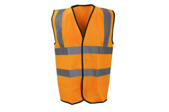 Warrior Mens High Visibility Safety Waistcoat / Vest (Fluorescent Orange)