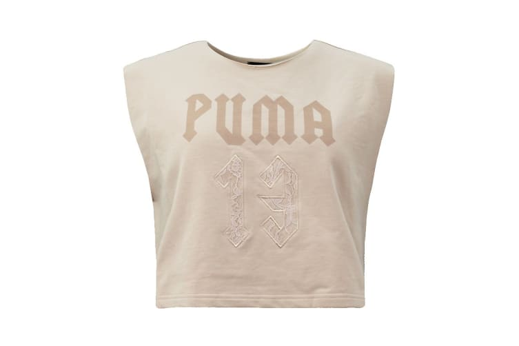 Puma Women's Sleeveless Fenty Cropped Crew Neck (Beige, Size XS)