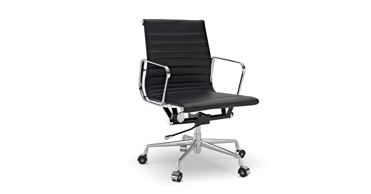 dick smith ovela executive eames replica low back ribbed office chair black office chairs. Black Bedroom Furniture Sets. Home Design Ideas