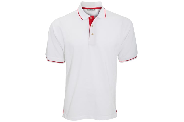 Kustom Kit Mens St. Mellion Mens Short Sleeve Polo Shirt (White/Bright Red) (S)