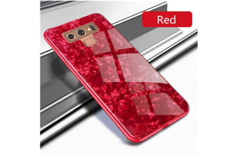 Shiny Seashell Pattern Tempered Glass Hard Back Cover Shell For Samsung Red Samaung S9