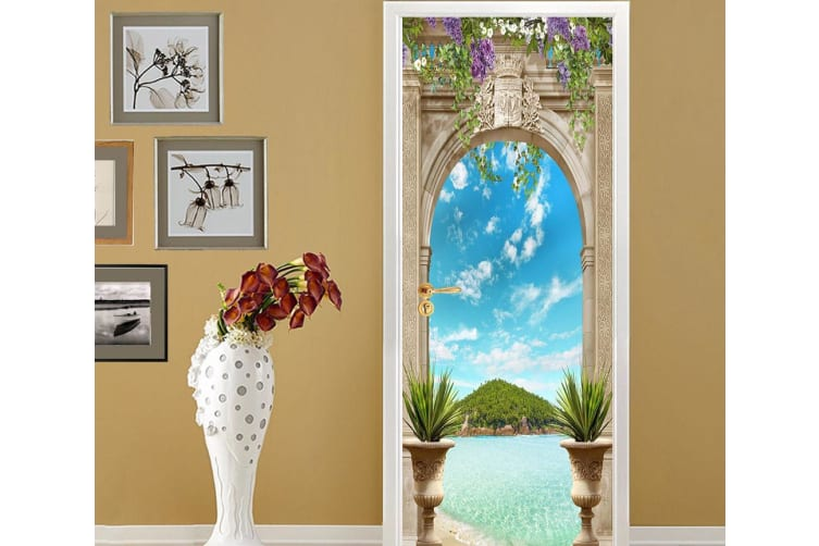 3D Castle Peak Blue Sky And White Clouds Painting Door Mural Woven paper (need glue), XXL 205cm x 82cm (HxW)(81''x32'')